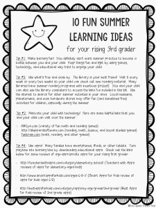 Part Three Summer Learning Activities for Rising Third Graders and ...