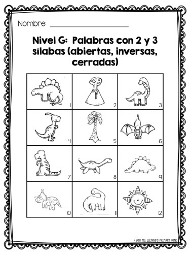 Spanish syllable reading mastery sheet