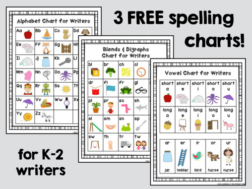 Download these three free spelling charts and more to create writing folders for your students!