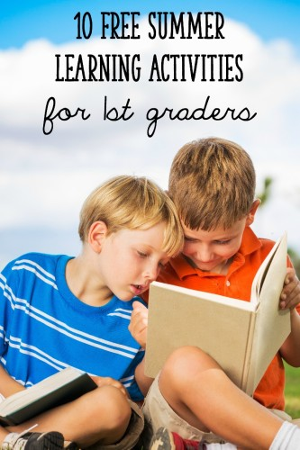 A list of 10 free summer learning activities for first graders (rising second graders!)