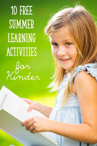 10 Free Summer Learning Activities for Kindergarten - download a list and hand out to parents!