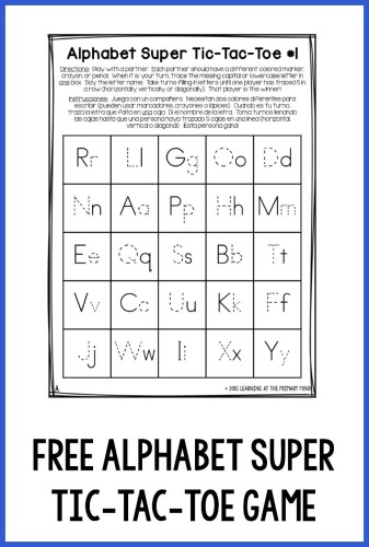 "This free alphabet super tic-tac-toe game makes a fun, no-prep homework assignment!  The student and a parent can play by tracing the missing letter to ""claim"" a space. The first person to claim five spaces in a row is the winner!"