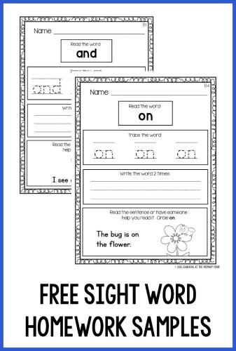 help students practice sight words at home with these predictable engaging sight word homework sheets