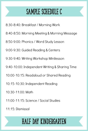 This is a sample half-day Kindergarten schedule with a balanced literacy block. Read the post for more tips on creating an effective Kindergarten schedule! - Learning At The Primary Pond