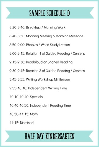 This is a sample half day Kindergarten schedule with a balanced literacy block and Daily Five type of setup. Read the full blog post for more details about how to create a schedule for your Kindergarten classroom! - Learning At The Primary Pond