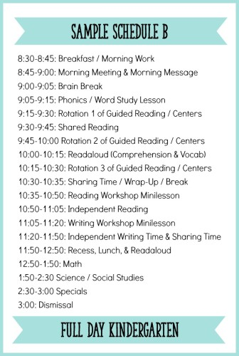 This is an example of what Kindergarten daily schedule can look like with a balanced literacy block! Read the blog post to see more sample schedules for full day and half day Kindergarten. - Learning At The Primary Pond