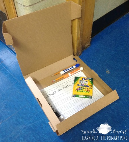 I use an empty pizza box for my students' summer homework and supplies!