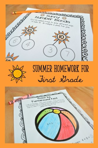 Summer Homework for First Grade Collage 1