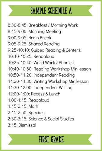 This Is One Example Of A First Grade Schedule With A Balanced Literacy  Block!