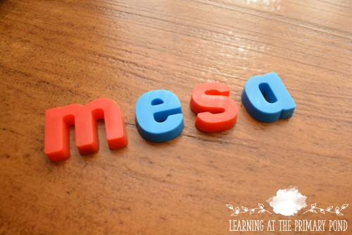 Mesa with magnetic letters