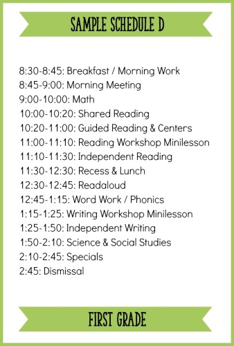 This is one example of a first grade schedule with a balanced literacy block! Read the full post for other sample schedules and ideas.