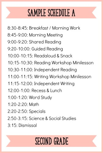 Second Grade Sample Schedule A