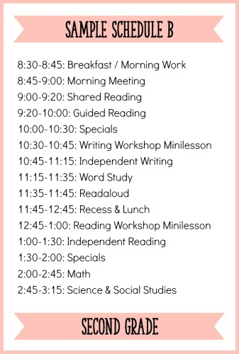 This is one sample schedule for second grade with a balanced literacy block - the post has 3 other sample schedules to check out!
