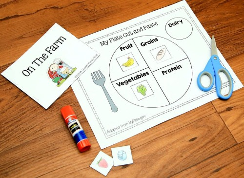 This cut and paste activity addresses the food groups, which we also learned about during our farm unit.