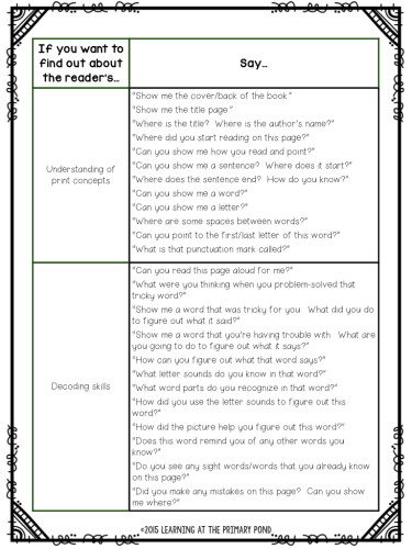 Here is a list of FREE prompts that you can download to get your reading conferences started! These prompts are ideal for Kindergarten or first grade students.