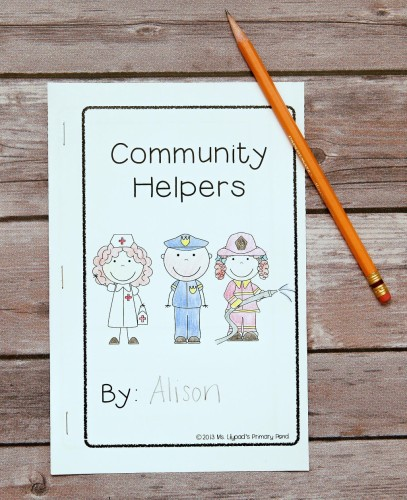 Students wrote about what they'd learned during the unit in this community helpers book.