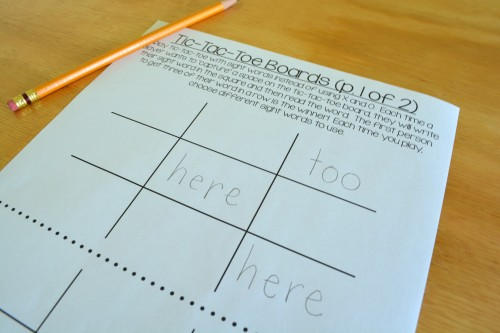 Sight word tic-tac-toe: a family literacy game for Kindergarten