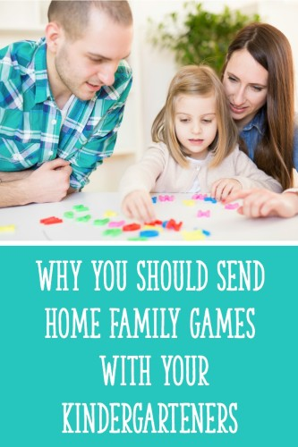 Read 3 reasons why sending home family games with your Kindergarten students is a GREAT idea - and download a free literacy game to send home with them!