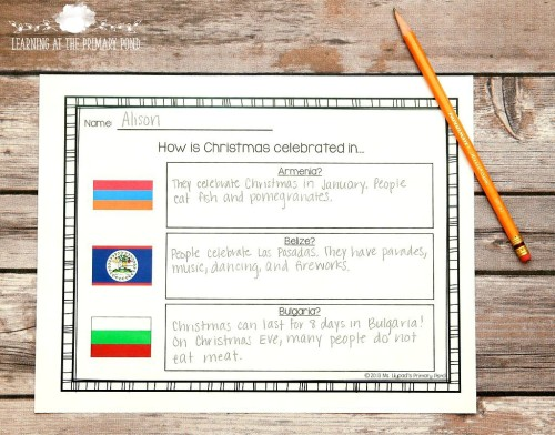 During the holiday season, you can teach students about how Christmas is celebrated in different countries. Click thru to the post to read more ideas about non-religious ways to celebrate the holidays in your classroom!