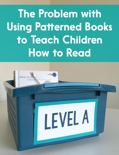 Most kids learn to read using patterned texts. However, using these types of books can teach children that reading is about looking at the picture and guessing, not decoding. Read this post for ideas about how to use patterned texts without harming children's concept of reading!