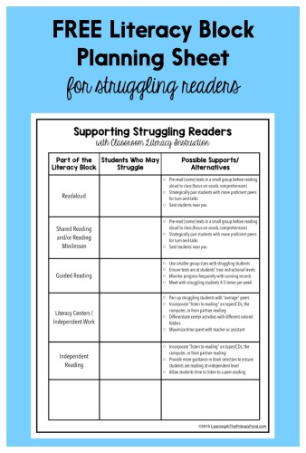Are some of your students struggling with reading? Download this FREE sheet to help you make sure you're making the most of your instructional time with them!