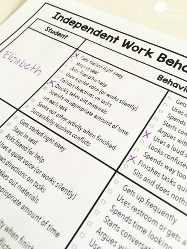 Download this free checklist to evaluate students' independent work during literacy centers or independent work time!