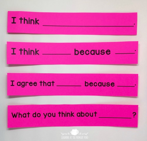 These sentence starters progress from least difficult (top) to more difficult (bottom). I use them to teach students to express their thoughts about a text during guided reading, justify their thinking, and engage with other students during a discussion.