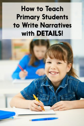 This post has 10 ideas for getting students to write with more details! The suggestions are perfect for Kindergarten, first grade, or second grade story/fiction writing units. There are also free writing lessons you can download!