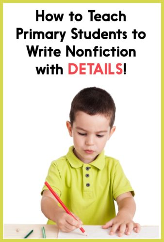 Get lots of ideas for writing lesson plans that help your students write nonfiction with details! The post has videos and FREE writing lesson plan downloads, too.