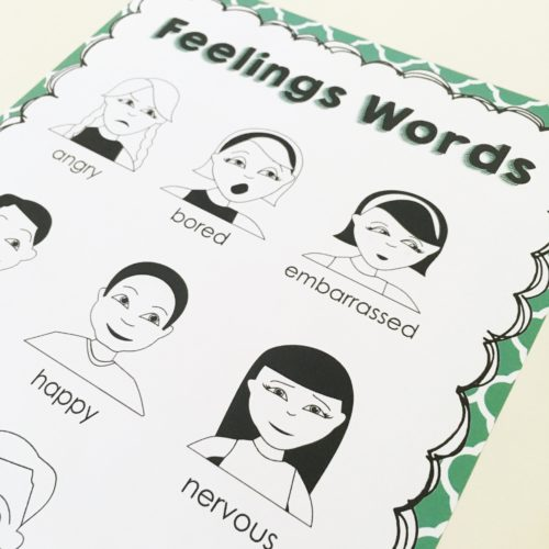"""I use this feelings word poster to encourage students to use words other than """"happy"""" and """"sad"""" in their stories!"""
