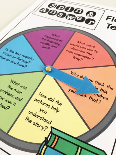 Comprehension spinner game for guided reading