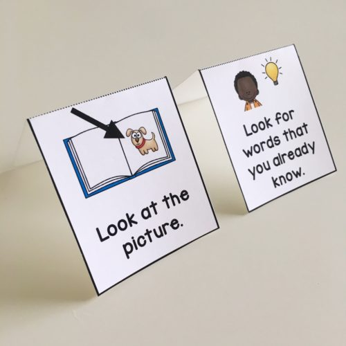 Foldable strategy cards for guided reading