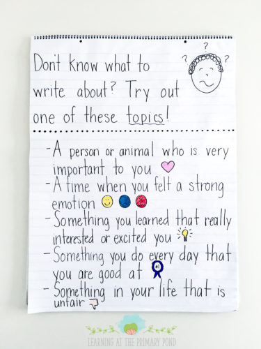 Instead of giving your students ideas, help them become more independent by encouraging them to use this type of anchor chart during writing workshop!