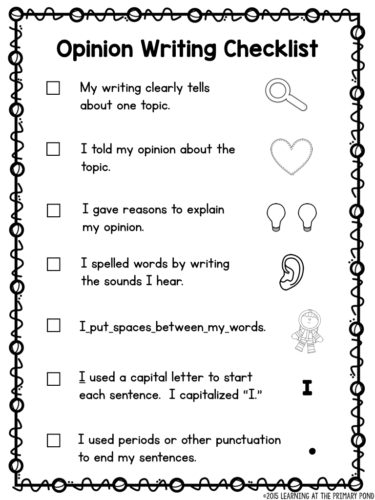 Beginning Opinion Writing Rubric