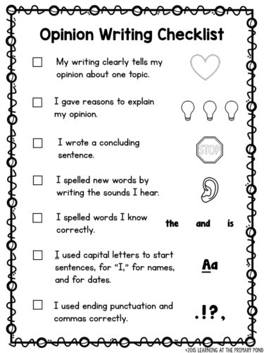 First grade opinion writing checklist