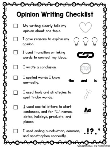 Second grade opinion writing checklist