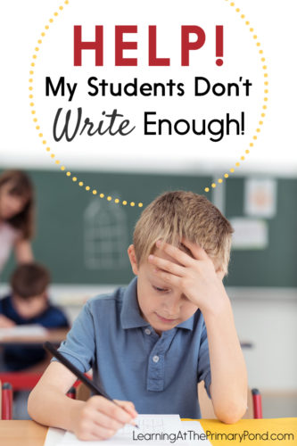 Do you have trouble getting your Kindergarten, first grade, or second grade students to write enough? This post has ideas to help!