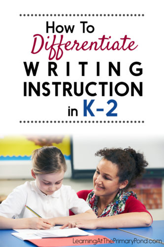 LOTS of ideas for differentiating your writing instruction in this post! Differentiated writing paper, individual goal setting, and leveled rubrics are just a few of the ideas discussed! These strategies are ideal for Kindergarten, first grade, or second grade classrooms.