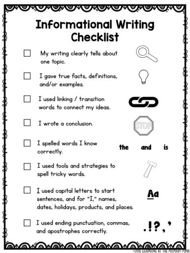 This checklist can be used by 1st or 2nd graders with informational / nonfiction / All About writing.