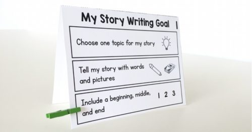 These tabletop goal-setting foldables are great for reminding kids what they are working on during writing time!