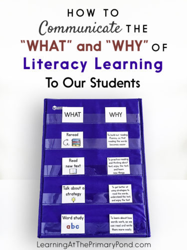 "It's important that students understand what is expected of them, and why instructional activities are important. In this post, I give practical suggestions for communicating the ""what"" and ""why"" of literacy learning to students!"