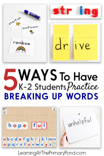 This post has great ideas for teaching students to break apart words! These activities are great for teaching onset and rime, word families, blends, digraphs, chunks, prefixes, suffixes, root words, and vocabulary!