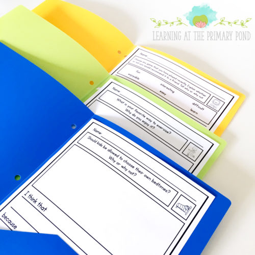 In centers, you can differentiate by placing different writing prompts or other activities in different colored folders.