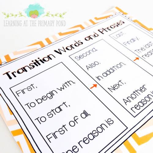 Place a list of transition words in your writing center!