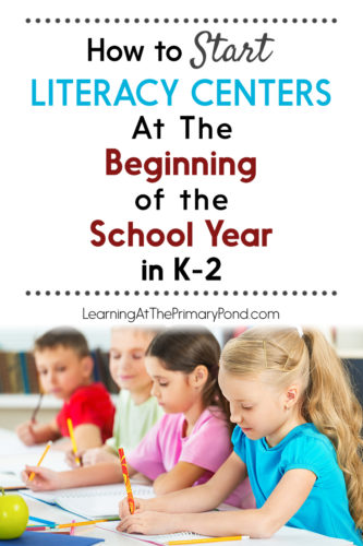 Not sure where to start or how to get organized for literacy centers? Read this post!! It's great for the beginning of the school year or anytime you want to start centers. The ideas are greatfor Kindergarten, first grade, or second grade literacy centers!