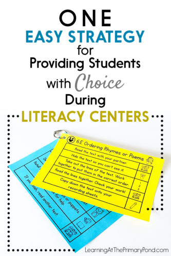 My kids do SO much better with literacy centers when they have choices! In this post, I explain how Ioffer choices during my Kindergarten, first grade, or second grade literacy centers.