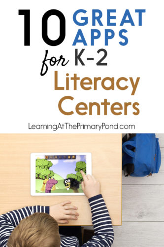 Love these apps for literacy centers in Kindergarten, first grade, or second grade!!