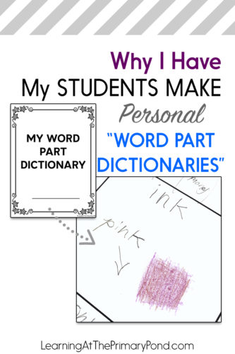 FREE word part dictionary template - help your students connect phonics learning to writing!