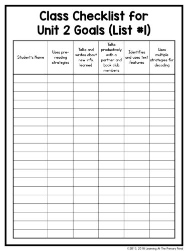 "This ""class checklist"" is from a second grade reading unit. I always keep one of these with me when I conduct individual reading conferences."