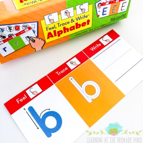 I love these tactile letter and writing cards from Really Good Stuff! Click through to read the entire post for more ideas about teaching letter sounds and multisensory phonics!